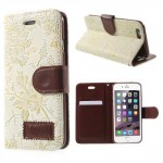 Pouzdro MFashion iPhone 6 - květy -  krémové