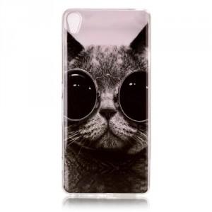 Obal  Xperia XA - Kočka s brýlemi