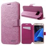 Koženkové pouzdro Samsung Galaxy S7 - saténové - růžové