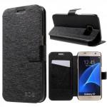 Koženkové pouzdro Samsung Galaxy S7 - saténové - černé