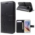 Koženkové knížkové pouzdro Galaxy S6 - Květy a motýli - černé