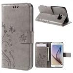 Koženkové knížkové pouzdro Galaxy S6 - Květy a motýli - šedé
