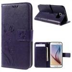 Koženkové knížkové pouzdro Galaxy S6 - Květy a motýli - fialové