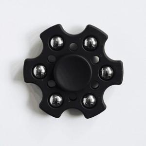 Fidget spinner šestihranný s kuličkami - černý
