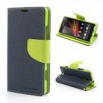 Pouzdro Wallet - Xperia SP - tmavě modré/zelené