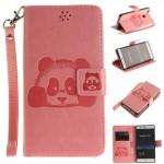 Koženkové pouzdro Huawei P9 Lite - světle růžová panda