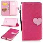 Koženkové pouzdro Huawei P10 Lite - tmavě růžové se srdcem