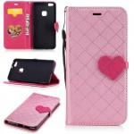 Koženkové pouzdro Huawei P10 Lite - světle růžové se srdcem