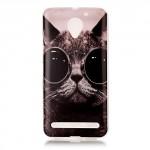 Pouzdro Lenovo Vibe C2 - kočka s brýlemi