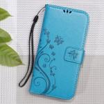 Pouzdro Huawei Y6 II Compact - květy a motýli - modré