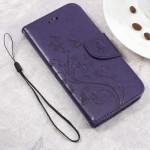 Koženkové pouzdro Zenfone Go ZB500KL - tmavě fialové květy