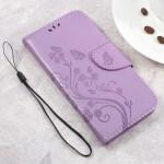 Koženkové pouzdro Zenfone Go ZB500KL - světle fialové květy