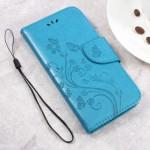 Koženkové pouzdro Zenfone Go ZB500KL - modré květy
