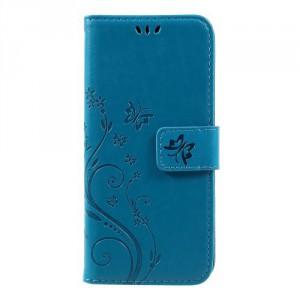 Koženkové pouzdro  Huawei P10 - květy a motýli - modré
