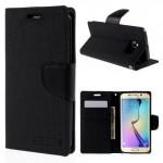 Pouzdro Canvas Diary Galaxy S6 Edge - černé