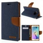 Pouzdro Canvas Diary Galaxy S6 Edge - tmavě modré