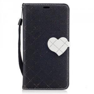 Koženkové pouzdro Moto G5 - černé se srdcem