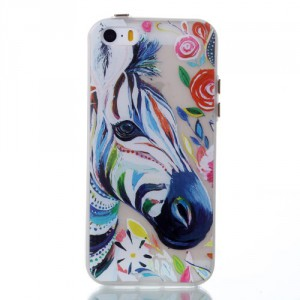 Pouzdro / Obal - iPhone 5/5S - Průhledné - zebra