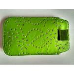 Univerzální pouzdro na mobil - Zelené se štrasem