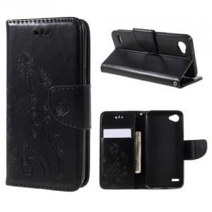 Koženkové pouzdro LG Q6 - Černé květy