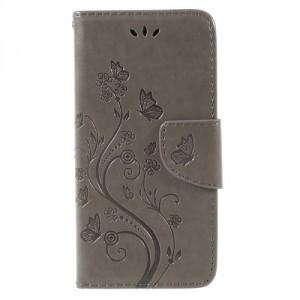 Koženkové pouzdro LG Q6 - Šedé květy