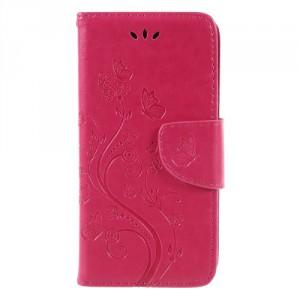 Koženkové pouzdro LG Q6 - Růžové květy
