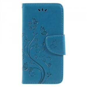 Koženkové pouzdro LG Q6 - Modré květy