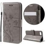Koženkové pouzdro iPhone 7, iPhone 8 - Květy - šedé