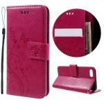 Koženkové pouzdro iPhone 7, iPhone 8 - Květy - tmavě růžové