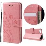 Koženkové pouzdro iPhone 7, iPhone 8 - Květy - světle růžové