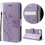 Koženkové pouzdro iPhone 7, iPhone 8 - Květy - fialové