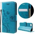 Koženkové pouzdro iPhone 7, iPhone 8 - Květy - modré