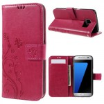 Pouzdro - Samsung Galaxy S7 Edge - květy a motýli - růžové