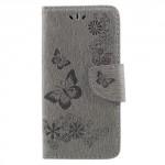 Koženkové pouzdro Huawei P9 Lite Mini - šedé květy a motýli