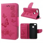 Koženkové pouzdro Huawei P9 Lite Mini - tmavě růžové květy a motýli