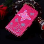 Koženkové pouzdro Galaxy J3 (2017) - motýl - růžové