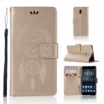 Koženkové pouzdro Nokia 3 - Sovy - zlaté