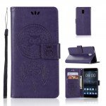 Koženkové pouzdro Nokia 3 - Sovy - fialové