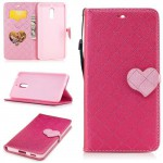 Koženkové pouzdro Nokia 6 - růžové se srdcem