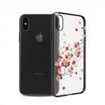 Kryt / Obal iPhone X - Květy 01 - s kamínky Swarovski