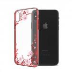 Kryt / Obal iPhone X - Květy 04 - s kamínky Swarovski
