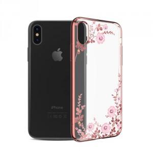 Kryt / Obal iPhone X - Květy 05 - s kamínky Swarovski
