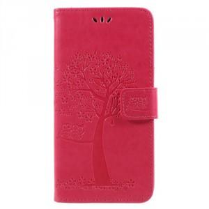 Koženkové pouzdro Honor 7X - Strom - tmavě růžové