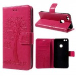 Koženkové pouzdro Huawei P10 Lite - růžové - strom