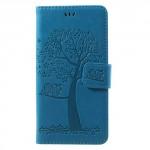 Koženkové pouzdro Huawei P10 Lite - modré - strom