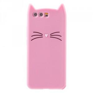 Pouzdro / Obal Huawei P10 - Kočka - růžové