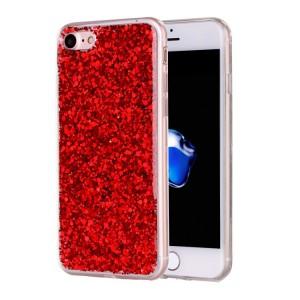 Pouzdro iPhone SE (2020), iPhone 7, iPhone 8 - Červené třpytivé