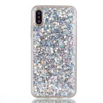 Pouzdro iPhone X - Stříbrné třpytivé