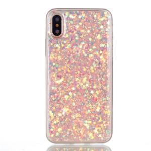 Pouzdro iPhone X - Růžové třpytivé
