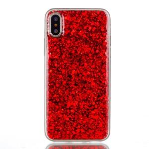 Pouzdro iPhone X - Červené třpytivé